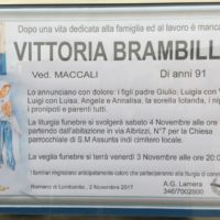 Falecimento de Sra. Vittoria Brambilla, mãe de Pe. Giulio Macalli,sss