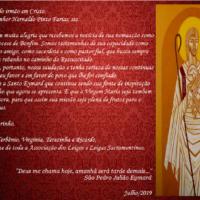 Saudações da Associação de Leigos e leigas Sacramentinos para Monsenhor Hernaldo