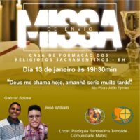 Participe da Missa de Envio dos formandos Gerson Gabriel e José William
