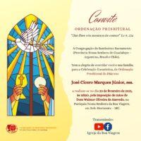 ORDENAÇÃO PRESBITERAL – Diác. José Cícero Marques Júnior, sss